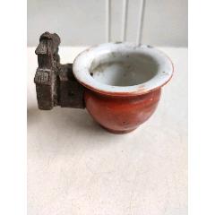 清代珊瑚紅瓷鳥食罐
