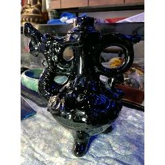 龍形黑釉酒壺、七十年代極美品、市場極少遇見、喜歡別錯過