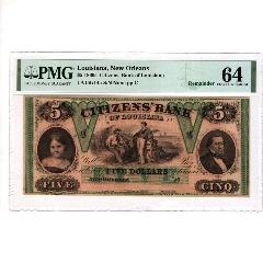 1860年美國新奧爾良路易斯安娜5美元PMG評級保真64分