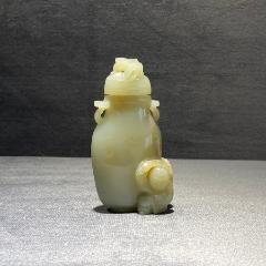 古玉老玉-清代-和田玉籽料雕龍鈕童子玉瓶-白玉玉瓶擺件