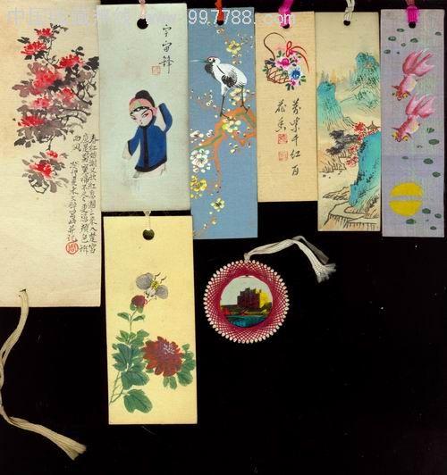 書簽/藏書票--第1圖:絹面自制手繪書簽