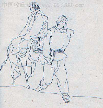 连环画/小人书--第6图:人物速写,线描绘画原稿1