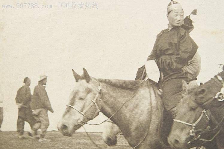清代蒙古贵族公主骑马特大张原版老照片带辫子的很图片