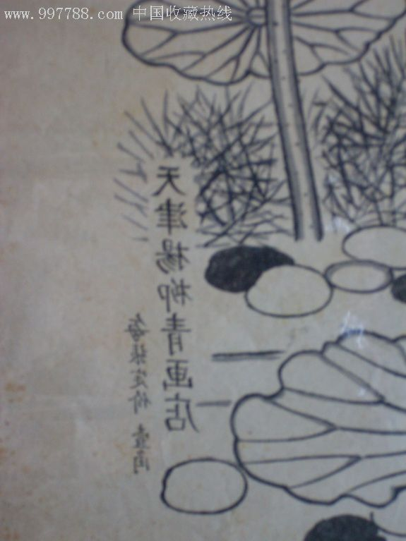 荷塘跃鲤(手绘线描稿)