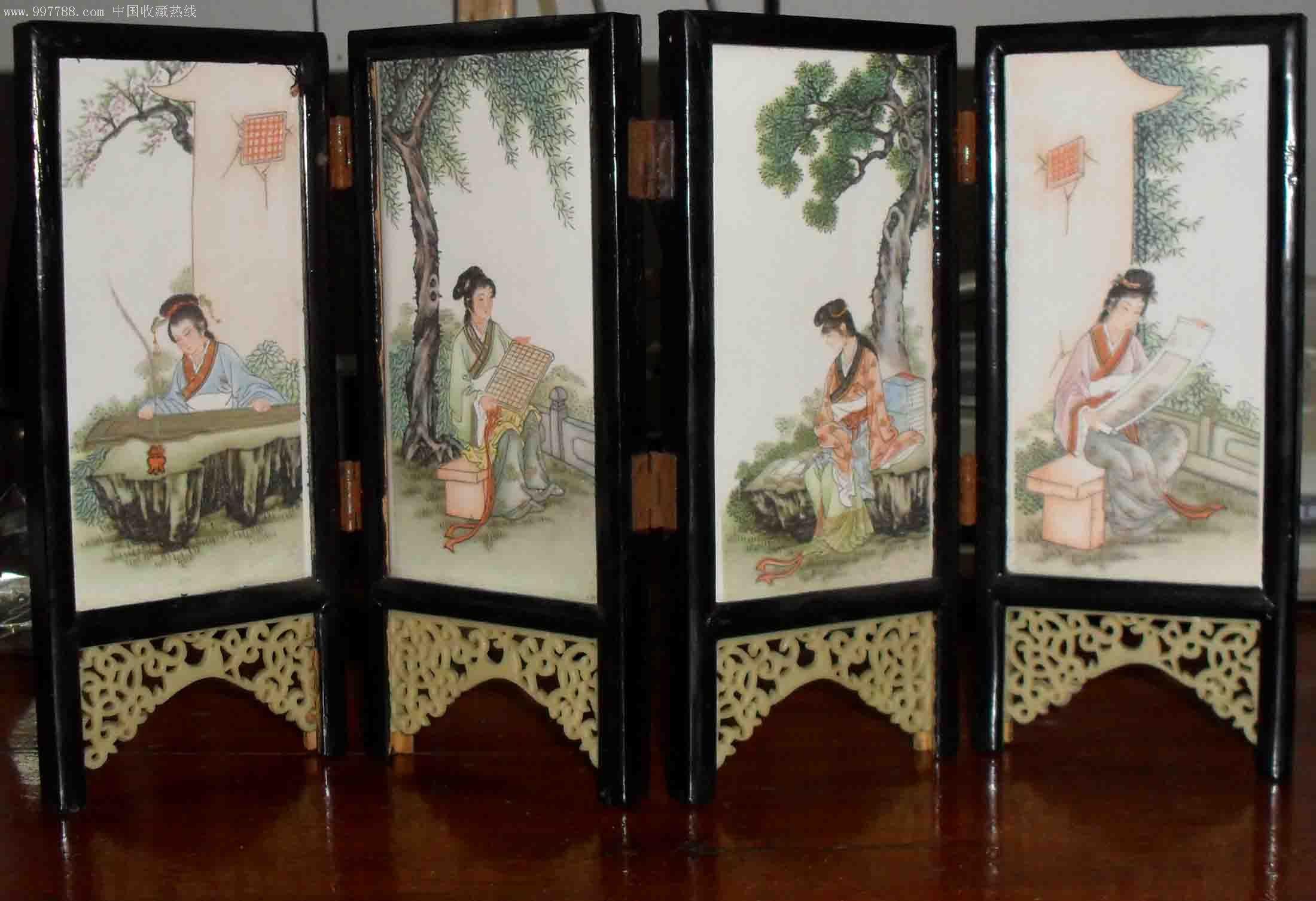 瓷砖屏风琴棋书画四美女图片