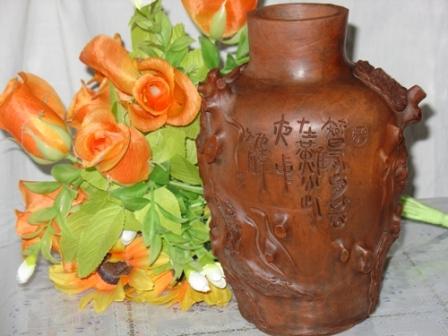 多次在国内获奖并出口的树根陶艺精品--花瓶