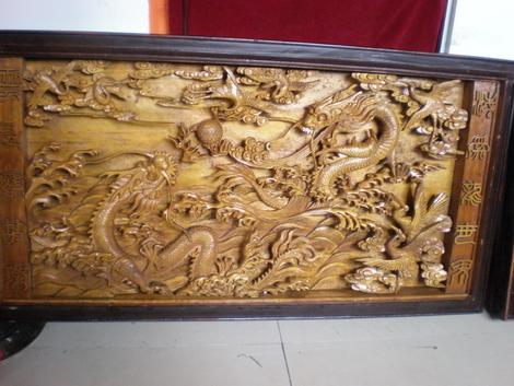 90年代木雕工艺作品《二龙戏珠》