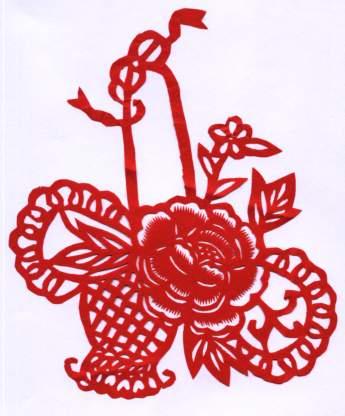牡丹花篮-价格:3.5元-se381372-剪纸/窗花-零售-中国