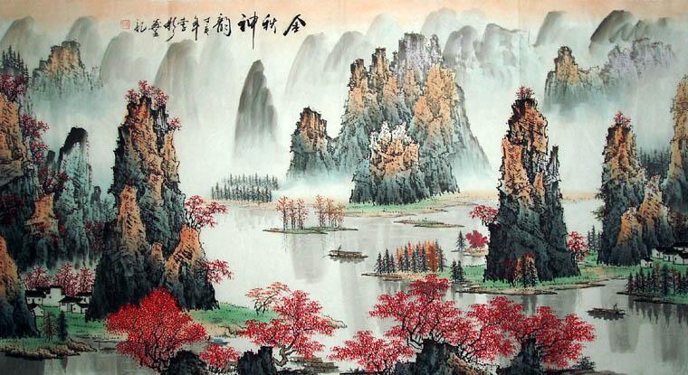六尺桂林山水画