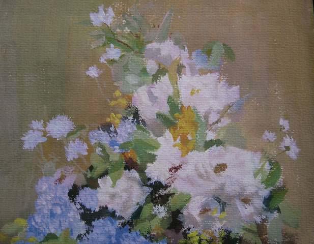 蓝色花瓶花卉水粉画一张