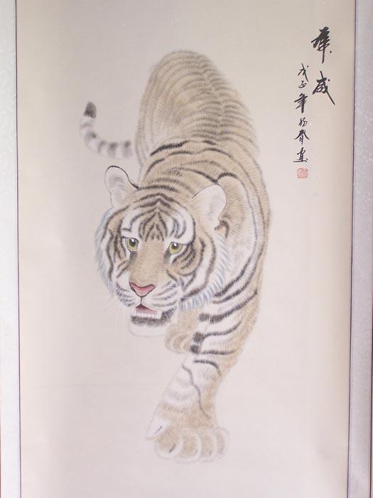当代实力画家王蒙四尺精装裱纯手绘工笔老虎图片