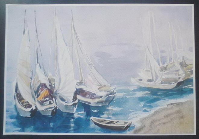 水彩画.船