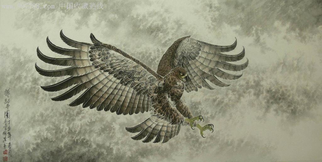 工笔画鹰的画法; 老虎工笔白描;