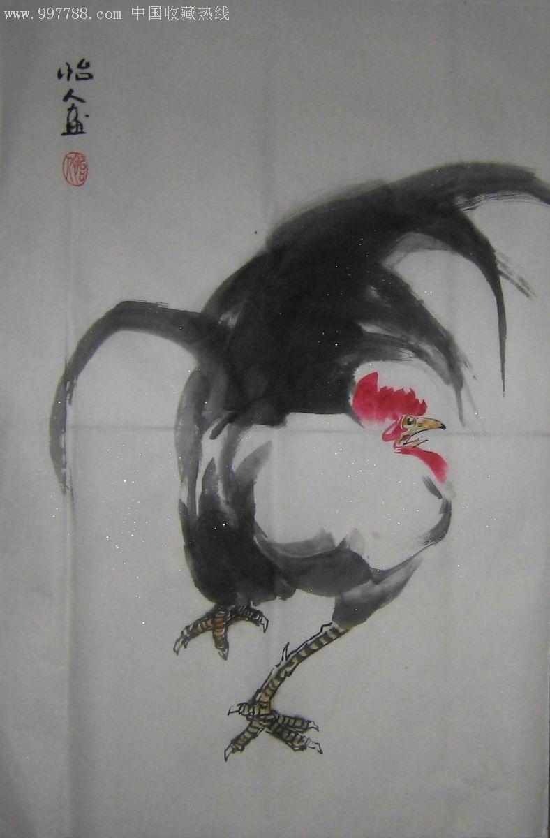 中国画写意花鸟4尺3开大鸡图