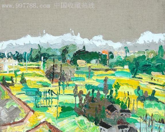 油画风景《油菜花的季节》