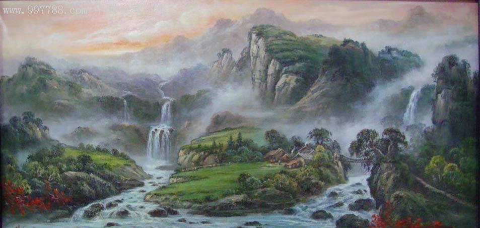 中国山水风景油画_价格3800元