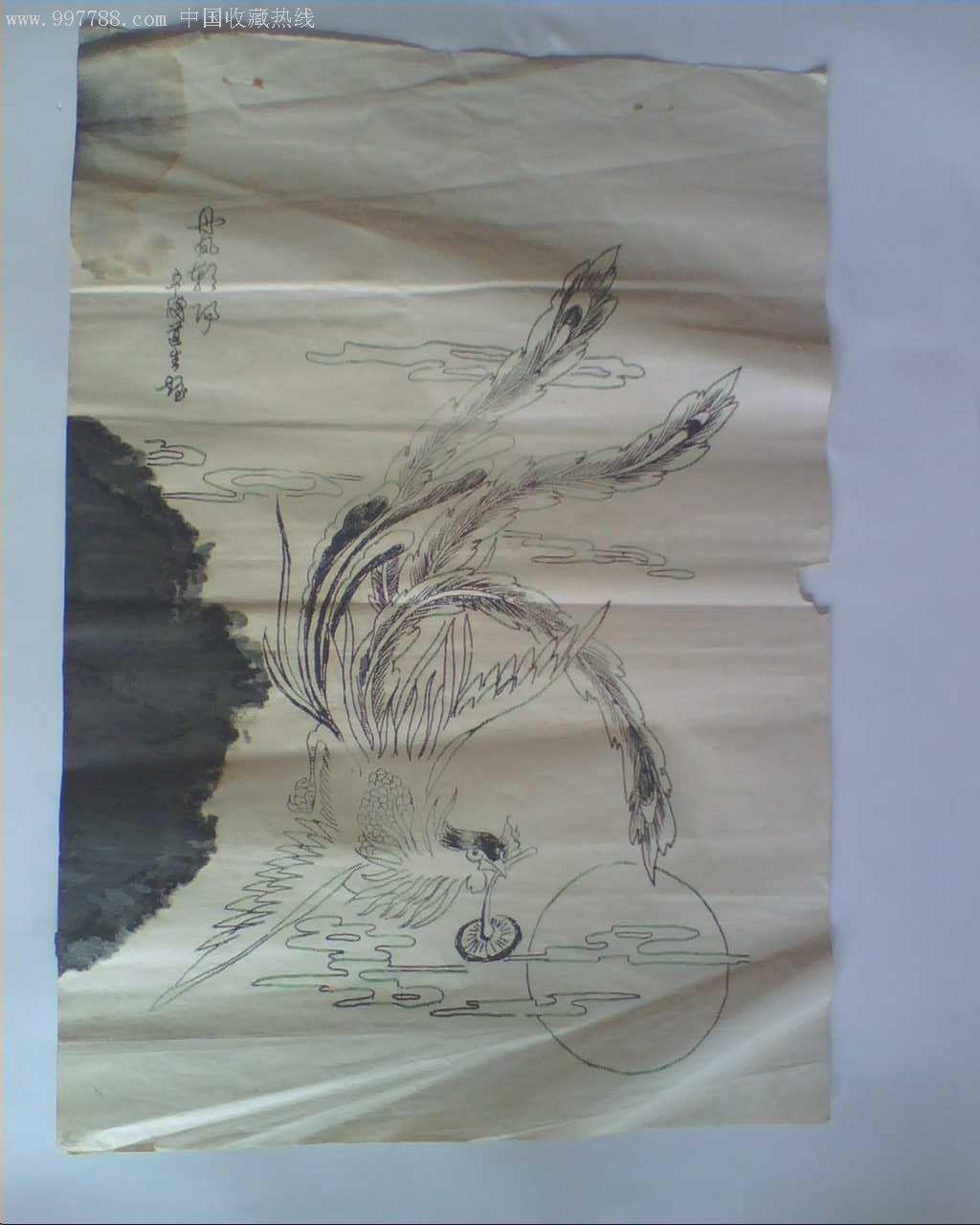 铅笔凤凰手绘图片