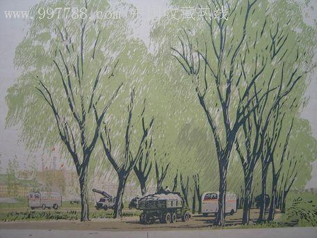 彩铅手绘垂柳画