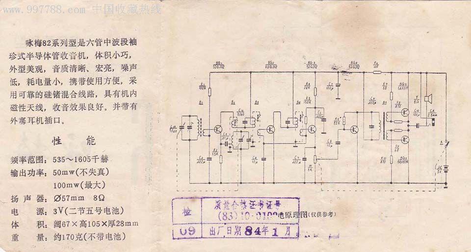 咏梅半导体管收音机