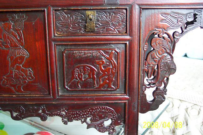民国胶东纯手工满工雕刻的桌几二龙戏珠人物鹿鹤等图案完好