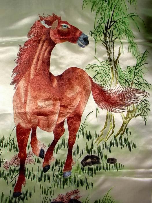 老刺绣-狮虎鹿马四条屏