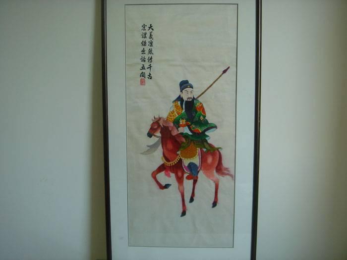 老刺绣-骑马关公(镜框装裱)