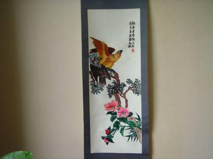 老刺绣-老鹰图(挂轴装裱)