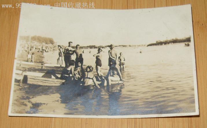 """满洲国时期原版照片""""哈尔滨太阳岛公园之岸边"""",老照片"""