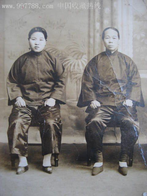 具有历史价值的民国老照片 小脚女人,老照片 小型合影照片,老照片