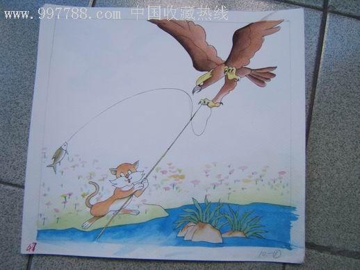 彩色卡通画:小猫钓鱼-se5372372-漫画/卡通画册-零售