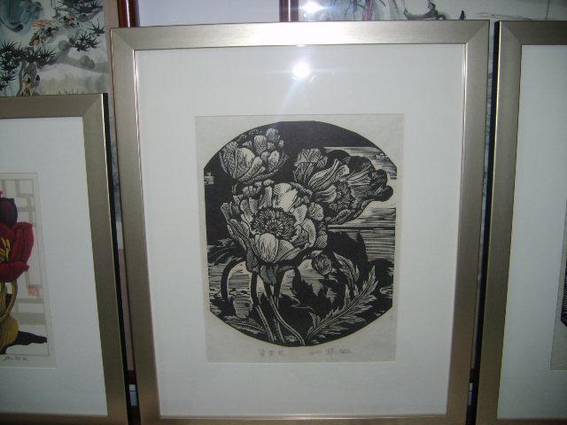 黑白木刻罂粟花版画名家42*52_价格元_第1张_中国收藏热线