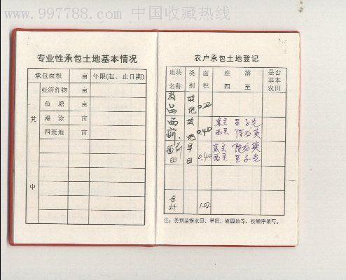 农村集体土地承包经营权证书_第3张_7788收藏__中国收藏热线