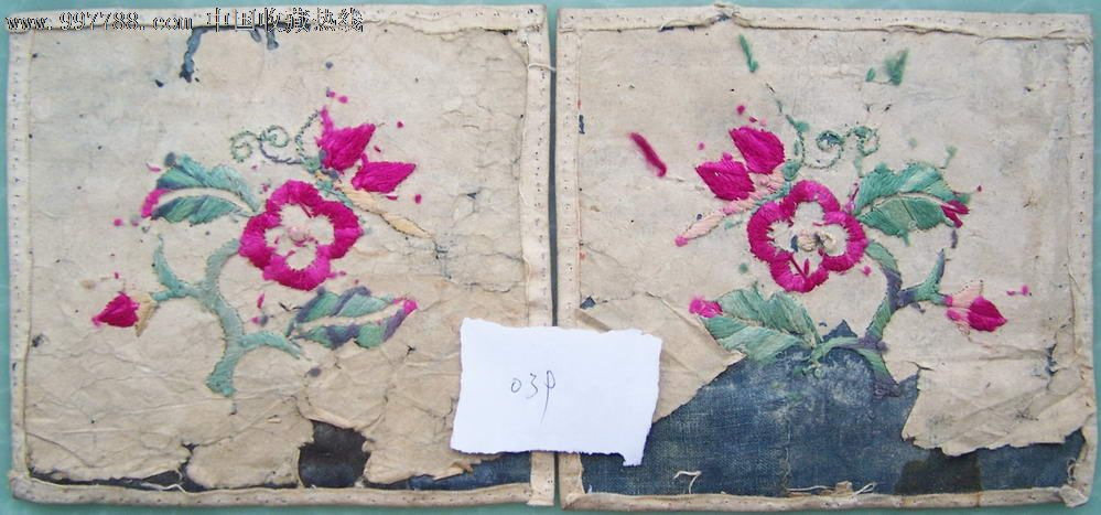 花飞蝶舞枕顶刺绣枕头顶(039)