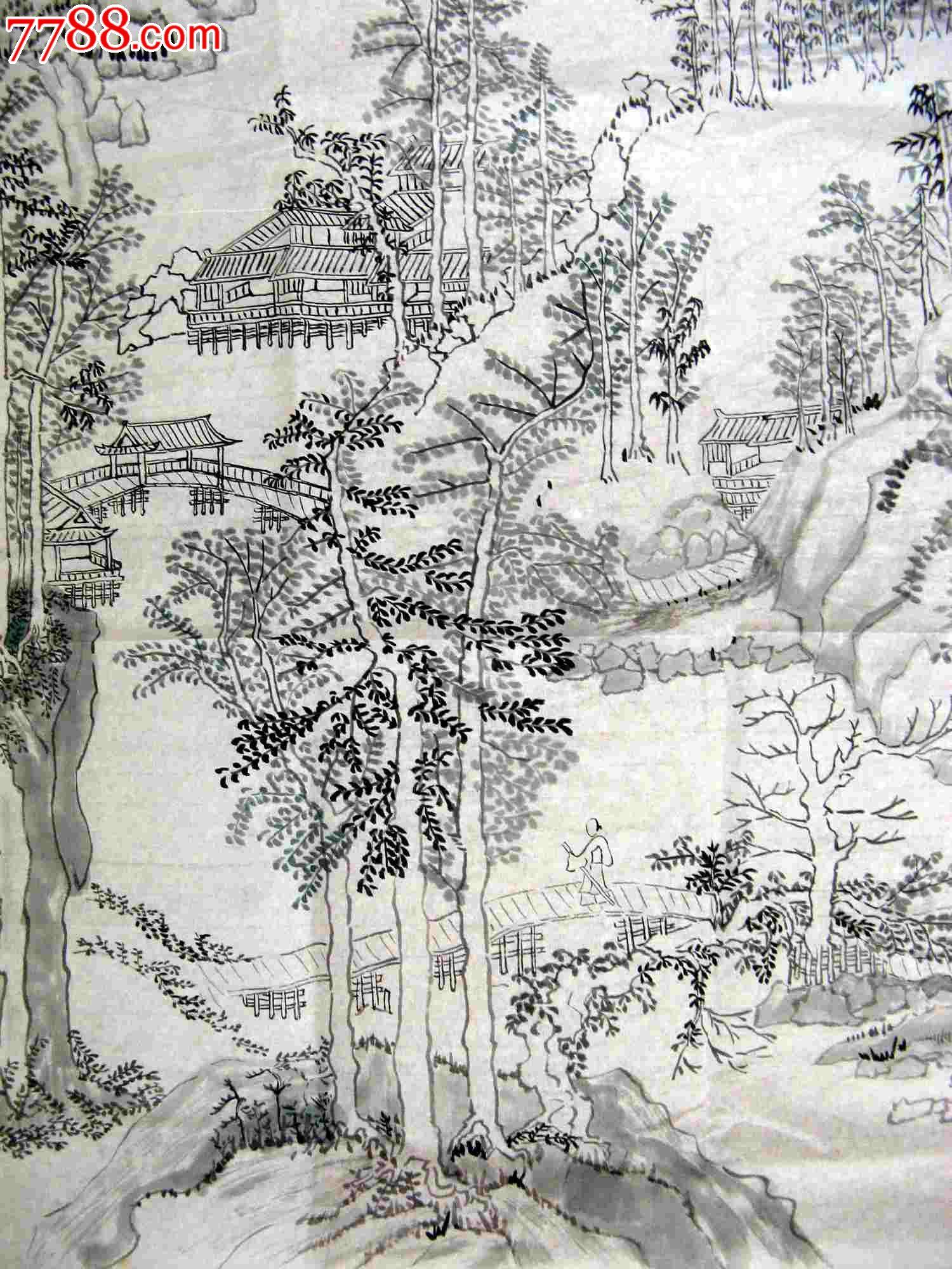 四尺条幅无款白描山水画:山中雅居