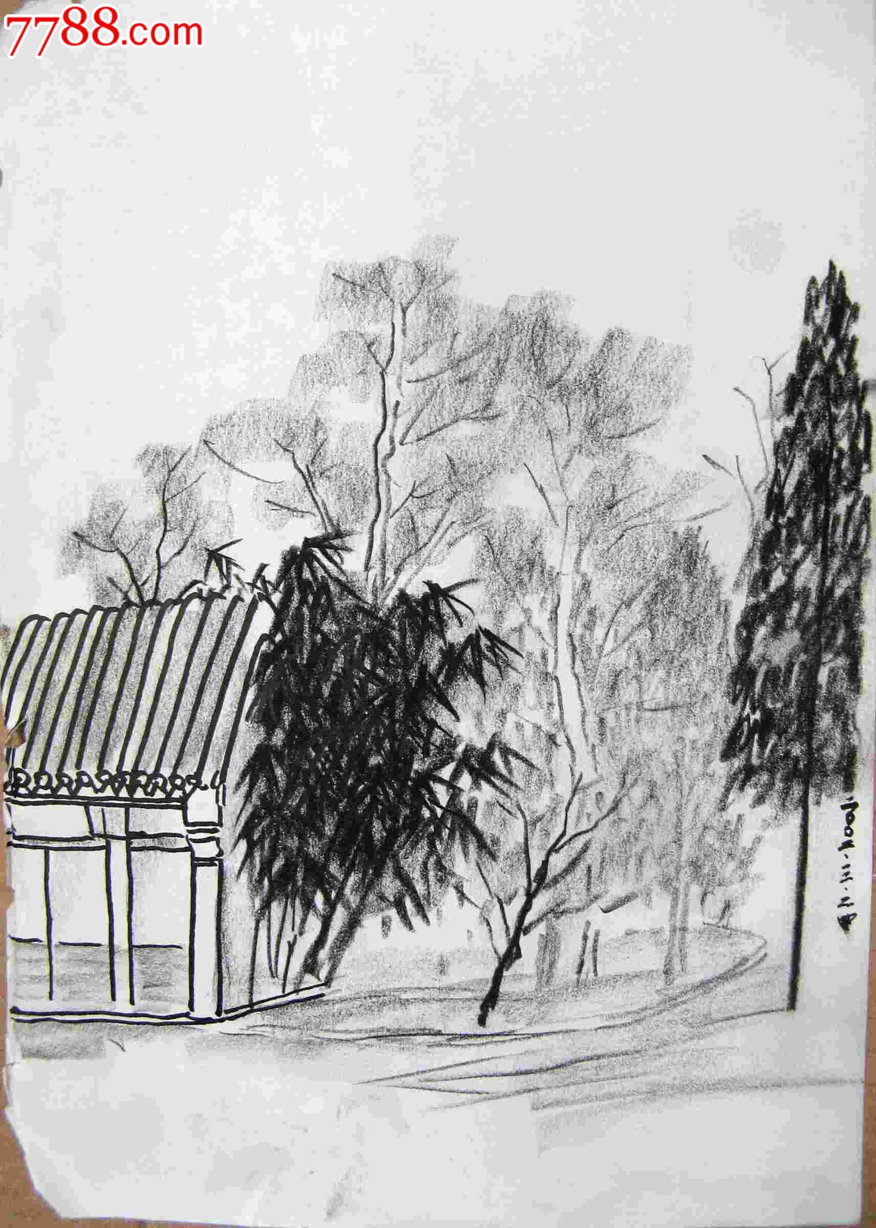 画家素描画稿风景建筑画3幅