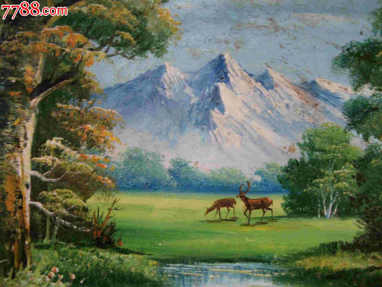 十分漂亮的布面风景老油画:森林雪山驯鹿图