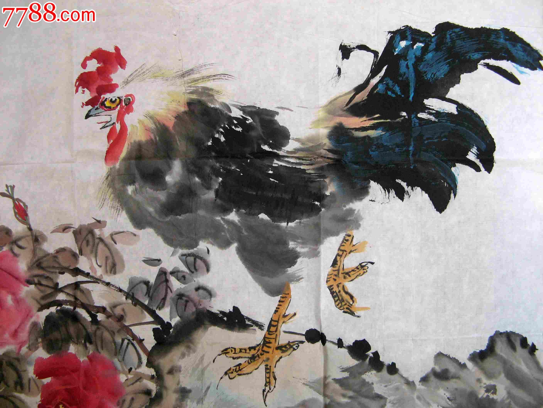 神彩皆佳的四尺斗方无款牡丹大鸡画:富贵大吉图