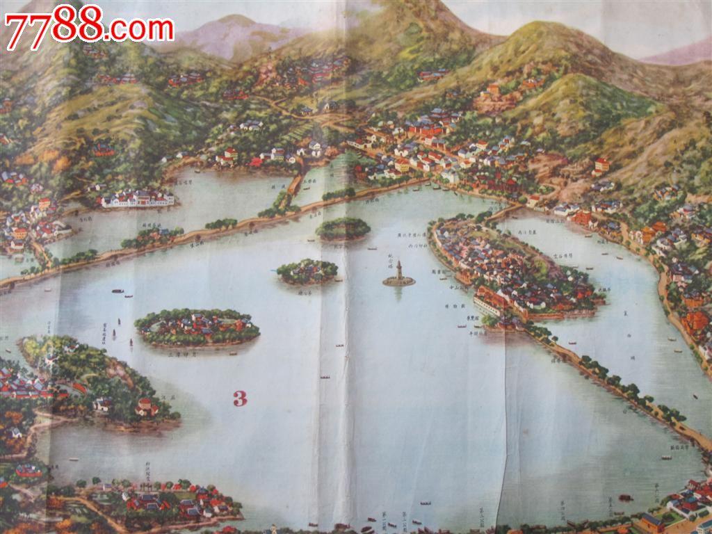 1955年风景画《杭州西湖风景全图》吴志厂作