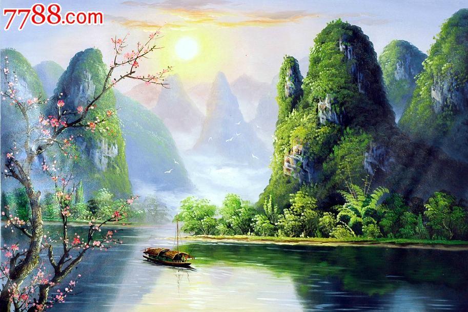 纯手工漓江山水100厘米×68厘米油画风景画yh009