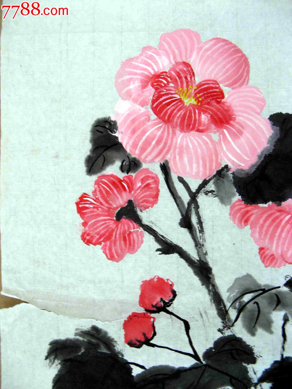 清雅明丽的四尺开三横条幅芙蓉花画:千娇百媚图片