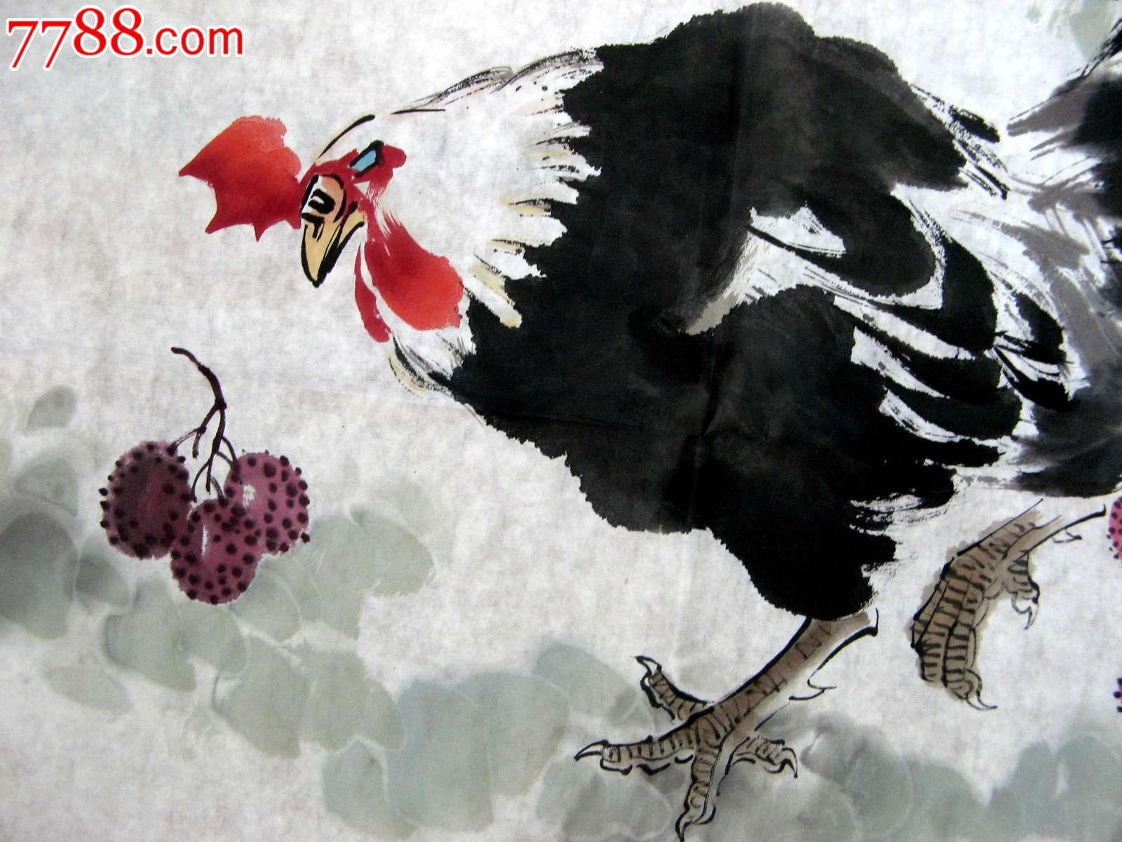 大鸡黑吊_生动鲜活的四尺斗方大鸡画《得利图》