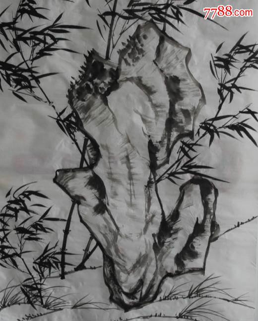 当代著名画竹画家四尺精品墨竹图片