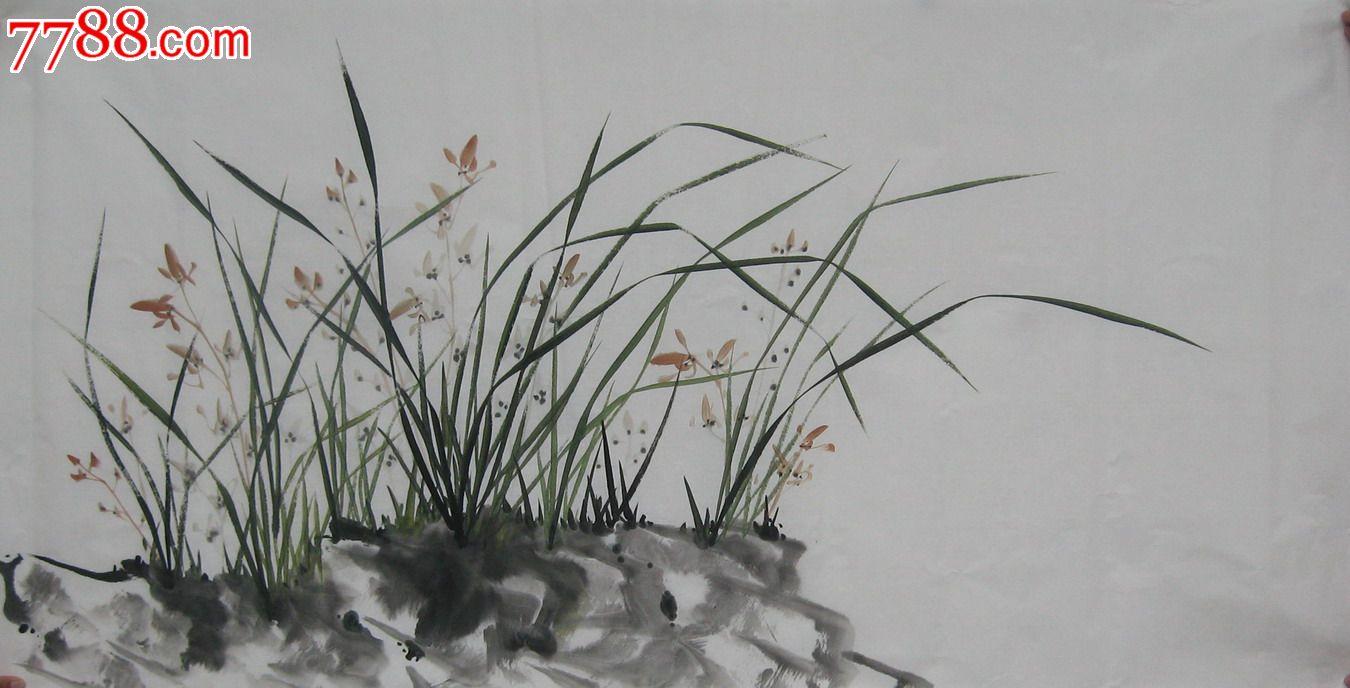 国画字画花鸟画100%纯手绘四尺兰花客厅装饰风水画