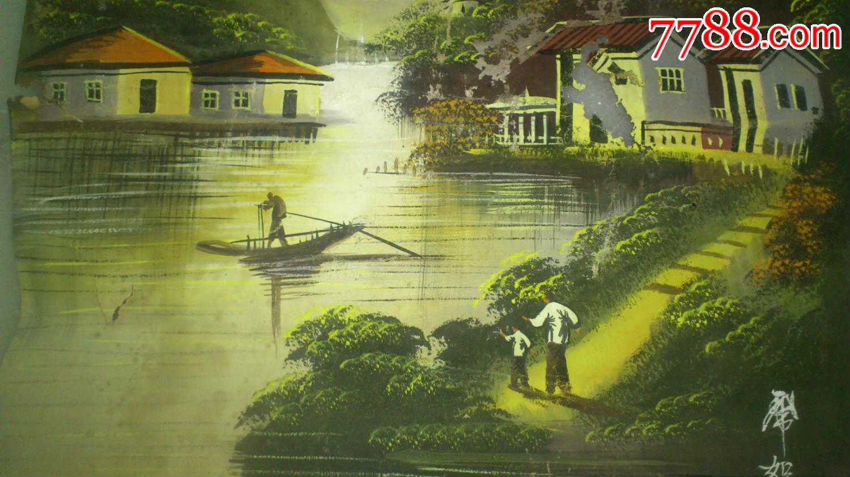 民国风景人物水粉画