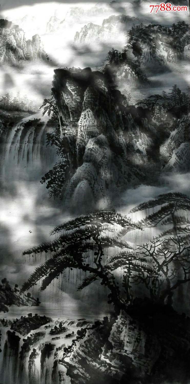 天来堂◆名家董福元◆水墨立轴四尺8平尺