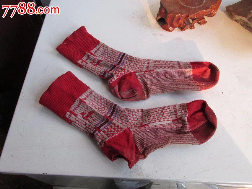 怀旧老补丁红尼龙袜子