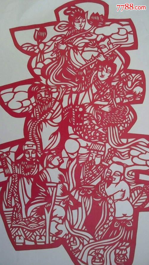 """年代不详""""福寿吉庆--八仙组寿字图图案""""门贴剪纸"""
