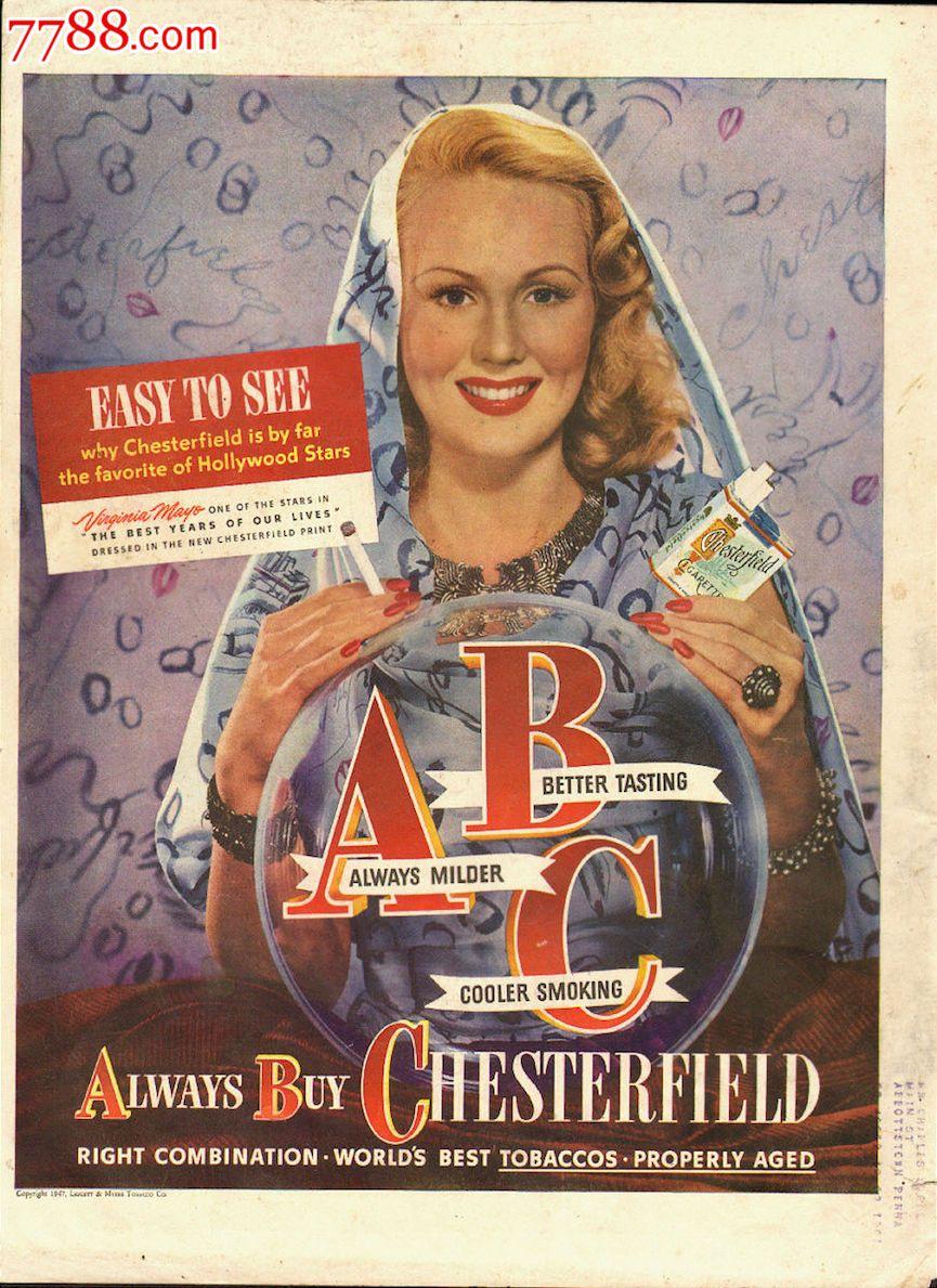 先锋影���)�no9no_no9:1947年-切斯特菲尔德-杂志广告画_第1张