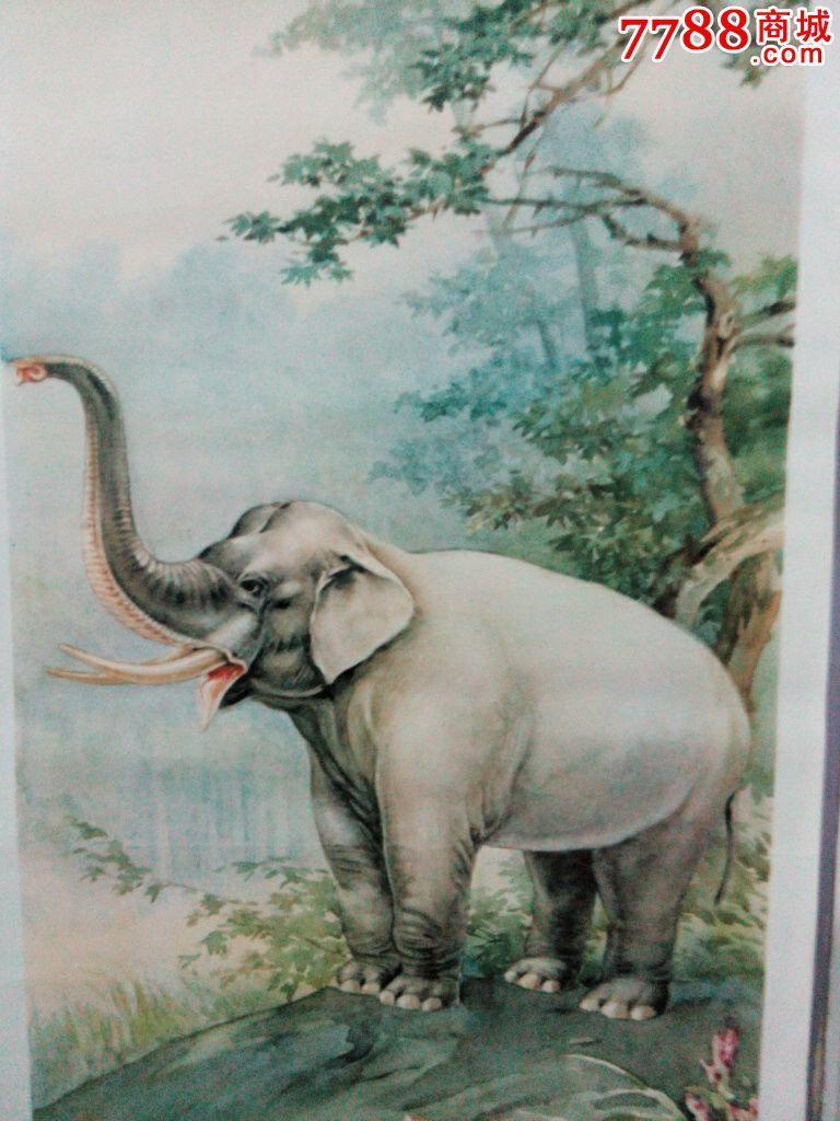 狮象虎豹四条屏-怀旧擦笔年画-动物题材
