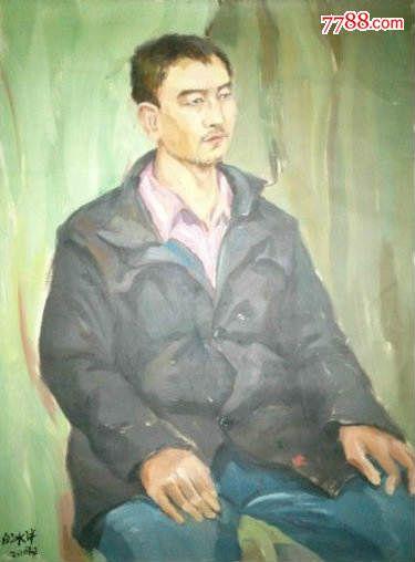 名画家布面人物油画《男坐像》—【低价拍售完为止】油画作品(*u-wps